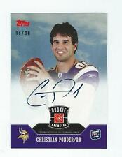 2011 TOPPS ROOKIE PREMIERE CHRISTIAN PONDER AUTOGRAPH ROOKIE FOOTBALL CARD 86/90