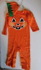 6-9 Months Baby Orange & White Pumpkin one piece & Hat Baby Halloween Costume