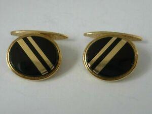 Stunning Oval 9k Gold & Onyx Cufflinks In New Luxury Case