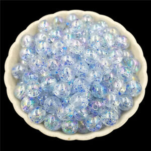 100 Pcs Round Transparent Crackle Glass Beads Mixed Color 8mm for Jewelry Making