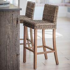 Wicker Grey Brown Wood Kitchen Furniture Breakfast Bar High Seat Chair Stool