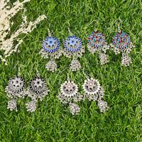 Vintage Indian Jewellery Sunflower Carved Bell Drop Dangle Hook Ethnic Earrings