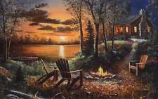"Jim Hansel ""Fireside"" Lake Cabin Print  28"" x 19"""
