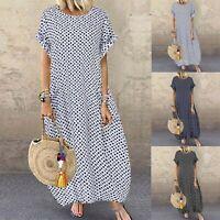 Women Short Sleeve Vintage Retro Plus Size Maxi Sundress Polka Dot Dress