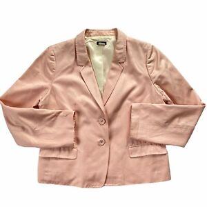 J. Crew Light Baby Bubble Gum Pink Cotton Blazer Jacket Women's Sz 12/14 Spring