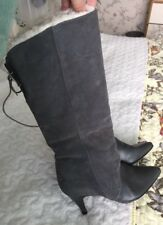 SUEDE LEATHER GREY FUR HEEL BOOTS UK 5