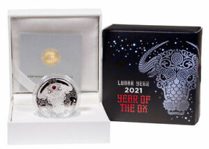 2021 Ghana Year of the Ox 1/2 oz Silver Lunar Proof GH¢2 Coin GEM Proof