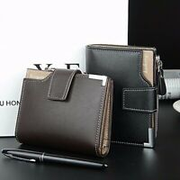 Men Leather Bifold Short Wallet Card Holder Coins Zipper Purse Clutch Bag  ~