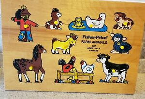 VTG 1970'S FISHER PRICE FARM ANIMALS #507 WOOD PUZZLE THE QUAKER OATS CO HOLLAND