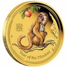 AUSTRALIAN LUNAR SII 2016 MONKEY 1/10 OZ GOLD PROOF COLOURED EDITIONS