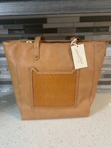 Universal Thread Goods Co Faux Leather Cognac Carry All Bag New With Tags