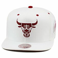 Mitchell & Ness Chicago Bulls Snapback Hat ALL WHITE/MAROON For Jordan 6 Retro