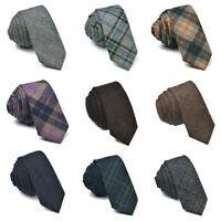 Wool Blend Men's Ties Tweed Plaid Neck Tie Business Wedding Formal Wool Ties