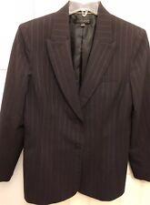Anne Klein Women's Blazer Size 10 Wool Blend Suit Coat Career Gray Pinstripe