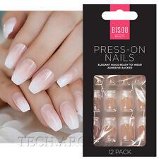 12 Press on False Nails Polished Painted French Manicure Styling Kit Beauty Set
