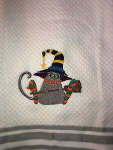 Embroidered Striped Kitchen Hand Towel  Halloween  Witch Cat w Socks  BS2166