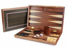 "13"" Classic Board Game Backgammon Set Brown Wooden Portable Us Seller"