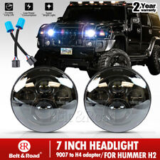 "2x 7"" Inch Black Round LED Projector Headlights For Hummer H1 + H2 9007 Adapter"