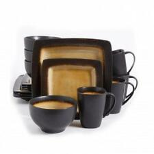 GIBSON HOME*Mystic Amber*16-PIECE Square Plate Dish DINNERWARE SET*Service for 4