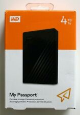 WD My Passport 4TB External USB 3.0 Portable Hard Drive (WDBPKJ0040BBK) - NEW