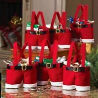 1-10 Large Christmas Red Gift Bags Xmas Candy Bag Santa Pants Decorations UK