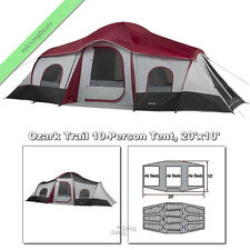 Ozark Trail Cabin Tent 10 Person 20'x10' Family Outdoor Camping, 3 Room, 3 Door
