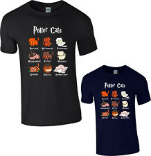 Potter Cats T-Shirt Harry Pawter Cat Fat Cute Lover Halloween Hogwarts Funny Top