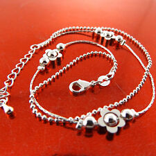 Flower Bead Charm Design 25Cm Fs3A765 Anklet Real 925 Sterling Silver S/F Ladies