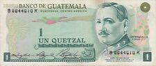 Guatemala 1977 1 quetzal banknote prefix B..K billete de guatemala serie B..K