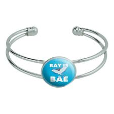 Silver Plated Metal Cuff Bangle Bracelet Ray is Bae Funny Humor Novelty