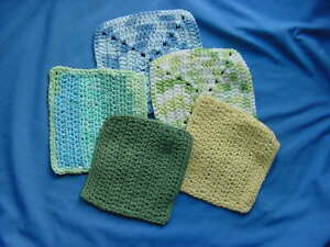5 NEW HAND CROCHET DISH CLOTHS/POTHOLDER/WASH CLOTH ASSORTED COLORS