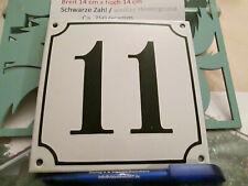 Hausnummer Emaille  Nr. 11 schwarze Zahl auf weißem Hintergrund 14 cm x 14 cm
