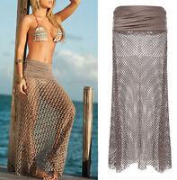 Lady beauty Bikini Swimwear Cover Up Beach Dress Mesh Hollow Crochet Long Skirt