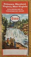 Vintage 1955 1956 Esso Delaware Maryland West Virginia Chesapeake Bay Road Map
