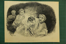 "Alfred Robida (1848 - 1926), dessin, ""Une araignée grosse comme un rat!"""