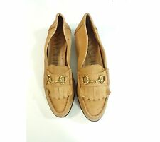 Vintage 80s Sam & Libby Tan Suede Leather Fringe Slip On Shoes Loafers Women 8.5