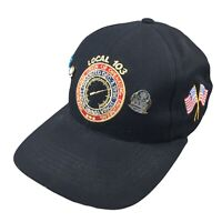 Local 103 Mens Adjustable Snap Back Hat Operating Engineers Union Cap Pins Black