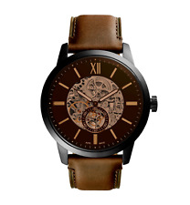 Fossil ME3155 Automatic Black Case Brown Leather Men's Watch 5 ATM RRP $399