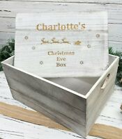 Wooden Christmas Eve Box Personalised Engraved large Sleigh Crate Box 35cm