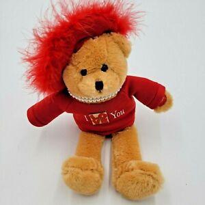 Chantilly Lane Stuffed Plush Red Hat Soft Bear Mini Pearl Sings LOVE Pin Flashes
