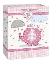 Pink Baby Girl Shower Party SWEET UMBRELLA ELEPHANT LARGE GIFT BAG