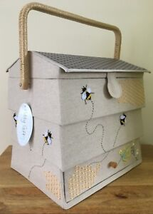 SEWING BASKET BOX FABULOUS BEE HIVE DESIGN LARGE SIZE SUPER QUALITY