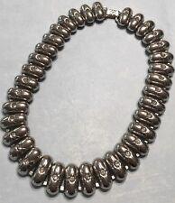 "Vtg Egyptian Revival Oval Link 14.5"" Silver tone Choker Collar Necklace-Estate"