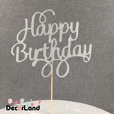Happy Birthday Glitter Silver Cake Topper for Birthday Cake Birthday Party