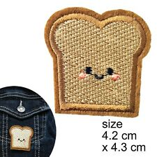 Happy toast iron on patch smile bread carb carbs slice transfer iron-on patches
