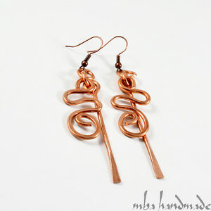 Hammered Copper Wire Wrapped Handcrafted Dangle Earrings by Mba Handmade Jewelry