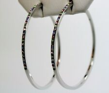 C223 Classic Fashion Jewelry silver tone 2.5 inches round  hoop Earring -Multi