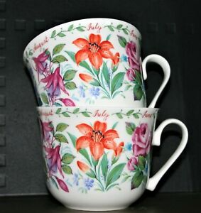 Roy Kirkham Breakfast Cups Set Of TWO 'Flowers' Fine Bone China Selected Seconds