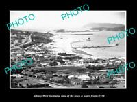OLD LARGE HISTORIC PHOTO OF ALBANY WEST AUSTRALIA, TOWN & WATERFRONT c1950