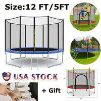 Round Trampoline with Enclosure, Net W/ Spring Pad Ladder Bouncing Bed